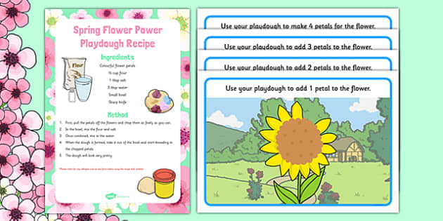 Spring Themed Playdough Recipe and Mat Pack - Fine motor skills, malleable, spring, plants