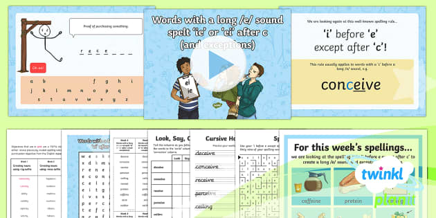 PlanIt Y6 Term 2A W3: Words with a long /e/ sound spelt 'ie' or 'ei' after c (and exceptions) Spelling Pack - spellings, Year 6, Y6, pack, ei, ie, i before e, except after c, statutory, appendix 1, SPaG, GPS, l