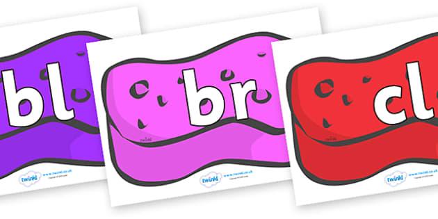 Initial Letter Blends on Sponges (Multicolour) - Initial Letters, initial letter, letter blend, letter blends, consonant, consonants, digraph, trigraph, literacy, alphabet, letters, foundation stage literacy