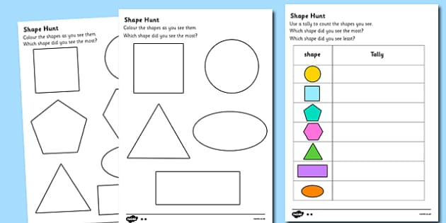 Shape Hunt Worksheet numeracy geometry shapes 2d shape – 2d Shapes Worksheet