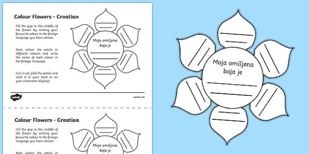 MFL Croatian Colour Flowers Activity Sheet, worksheet