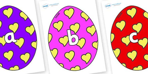 Phase 2 Phonemes on Easter Eggs (Hearts) - Phonemes, phoneme, Phase 2, Phase two, Foundation, Literacy, Letters and Sounds, DfES, display