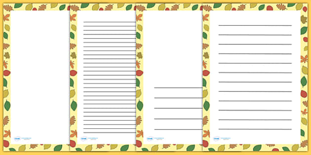 Autumn Leaves Page Borders - writing templates, writing border