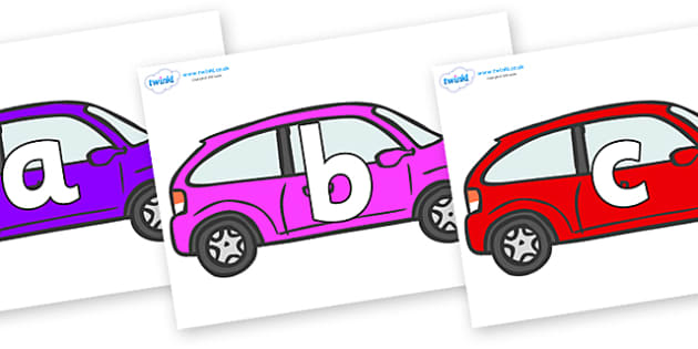 Phoneme Set on Cars - Phoneme set, phonemes, phoneme, Letters and Sounds, DfES, display, Phase 1, Phase 2, Phase 3, Phase 5, Foundation, Literacy