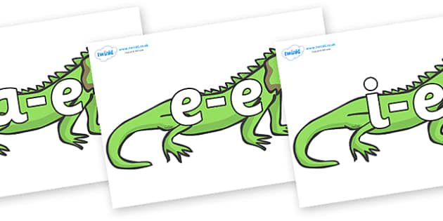 Modifying E Letters on Iguanas - Modifying E, letters, modify, Phase 5, Phase five, alternative spellings for phonemes, DfES letters and Sounds