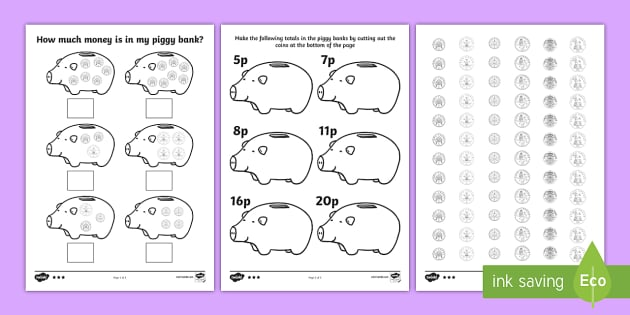 how much money is in my piggy bank differentiated worksheets ha. Black Bedroom Furniture Sets. Home Design Ideas
