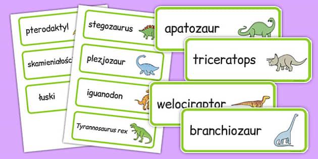 Karty ze słownictwem Dinozaury po polsku - przedszkole