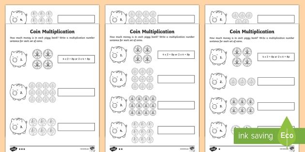 year 2 maths coin multiplication homework activity sheet year. Black Bedroom Furniture Sets. Home Design Ideas