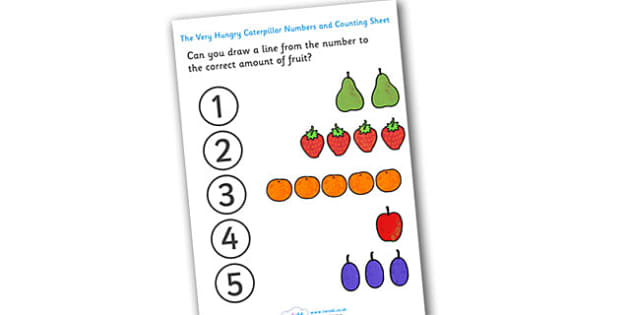 Numbers and Counting Sheet to Support Teaching on The Very Hungry Caterpillar - free