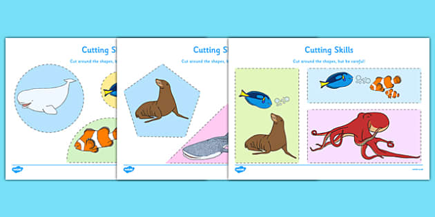 Under the Sea Adventure Cutting Skills Activity Sheet Pack - finding nemo, finding dory, under the sea adventure, cutting skills, worksheet