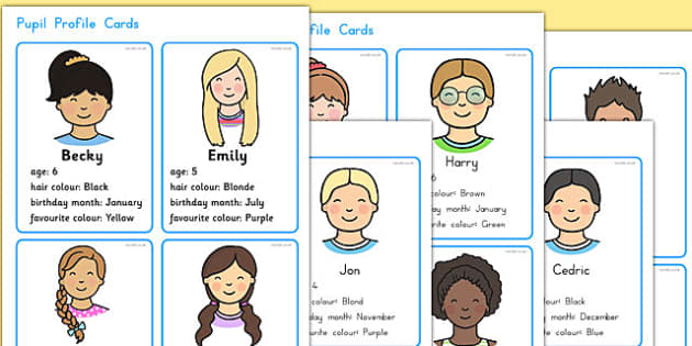 Made Up Pupil Profile Cards for Graphs and Data Collection - card