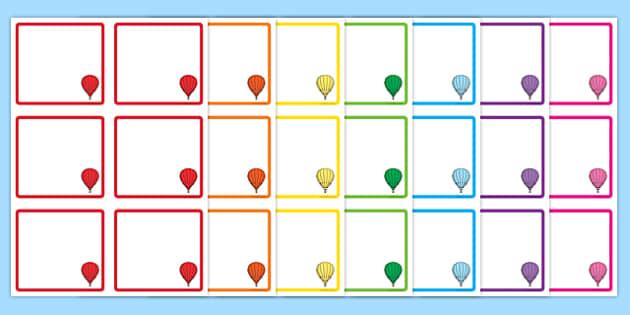 Hot Air Balloon Square Peg Labels