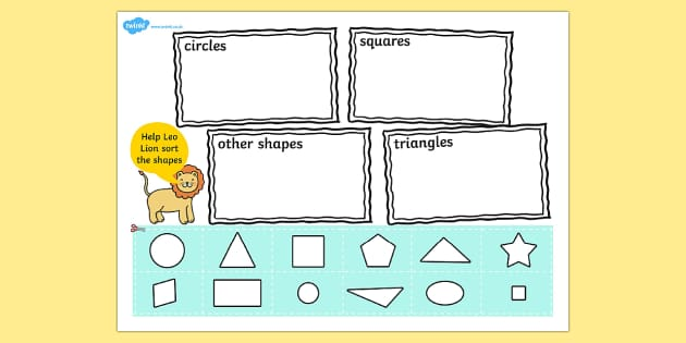 Shape Sort Cut and Stick Activity - 2D shape, sort, circle, triangle, square, rectangle, star, diamond, oval, shapes, sorting, cut and stick, cut, stick, cutting, cut out shapes, cut outs, cut-outs, 2D shapes, shape activities