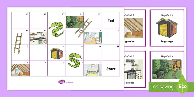 Snakes and Ladders French - snakes, ladders, french, vocabulary, game