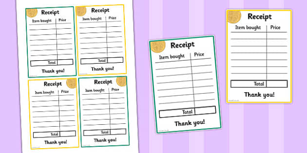 Pound Shop Role Play Receipts - pound shop, role-play, receipts