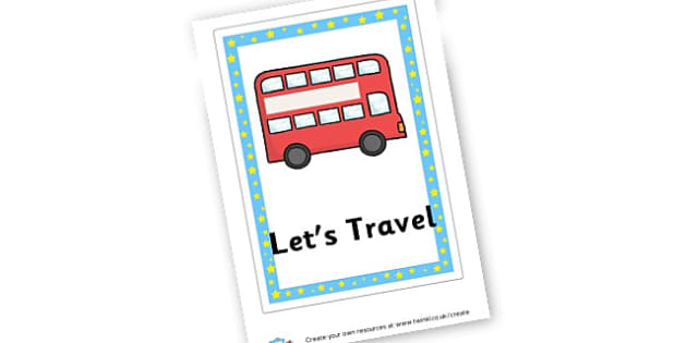 Let's Travel Book Cover - Transport Primary Resources, travel, bus, car, bike, plane, taxi