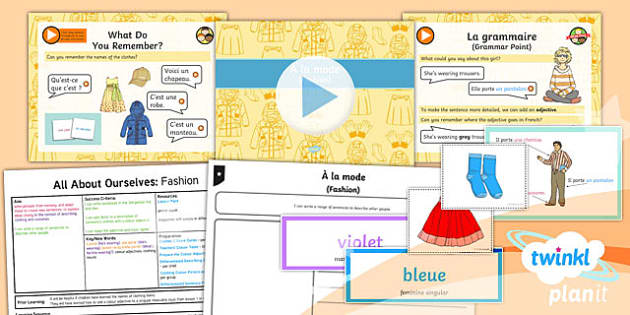 PlanIt - French Year 5 - All About Ourselves Lesson 4: Fashion Lesson Pack