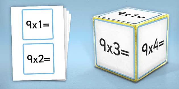 Giant Foam Dice Squares 9 Times Tables - foam dice, squares, 9