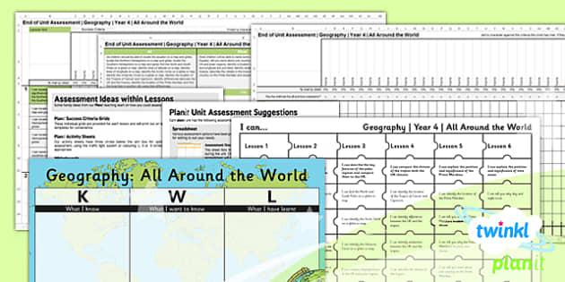 PlanIt - Geography Year 4 - All Around the World Unit Assessment Pack - planit, geography, year 4, all around the world, unit, assessment, pack