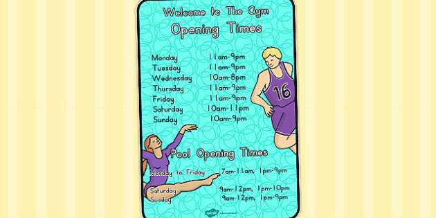 Gym Role Play Opening Times (Australia) - open, time, display