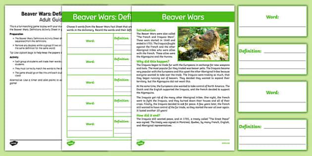 Beaver Wars Definitions Game - Aboriginal, Canada, Native, Beaver Wars, First Nations, definitions, Algonquin, Iroquois, European, Beaver War, Beaver Wars, Iroquois War, Iroquois and French War
