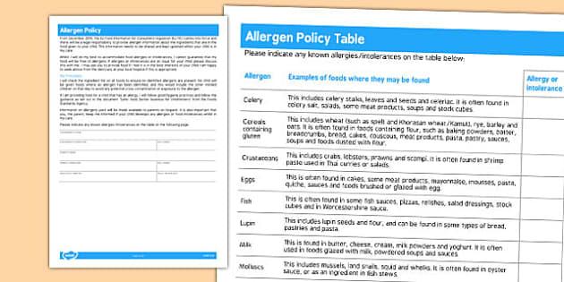 Allergen Policy for Childminders - childminders, allergen, child