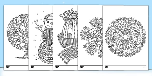 Winter Themed Mindfulness Colouring Sheets - colouring, pd, fine motor skills, well being, stress, relax, unwind, early years, ks1, ks2, art, home learning, display, snowy, wintry, cold, icy, dark, white,