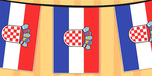 Croatia A4 Flag Bunting - countries, geography, flags, country
