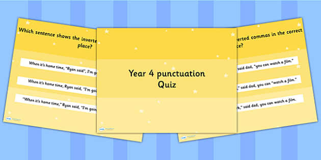 Year 4 Punctuation PowerPoint Quiz - year 4, punctuation, quiz