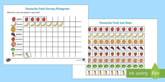 Favourite Fruit Pictogram - favourite fruit, pictogram, popular fruit, chart, banana, apple, orange, kiwi, grapes