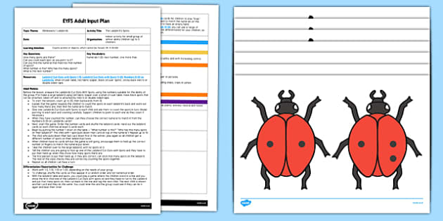 EYFS Ladybirds' Spots Adult Input Plan and Resource Pack - Adult Input Plan, Counts Actions, Counting, Cannot Move, Maths, Mathematics, EYFS Planning, minibeasts, insects