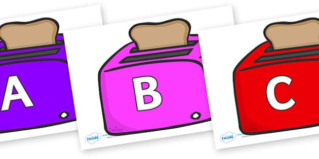 A-Z Alphabet on Toasters - A-Z, A4, display, Alphabet frieze, Display letters, Letter posters, A-Z letters, Alphabet flashcards