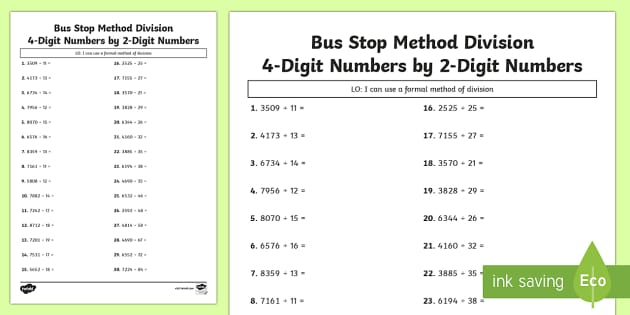 Bus Stop Method Formal Division of 4 Digit Numbers by 2 Digit Numbers Activity Sheet - formal division, worksheet