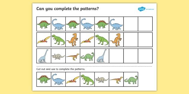 Dinosaur Complete the Pattern Activity Sheet - dinosaurs, patterns