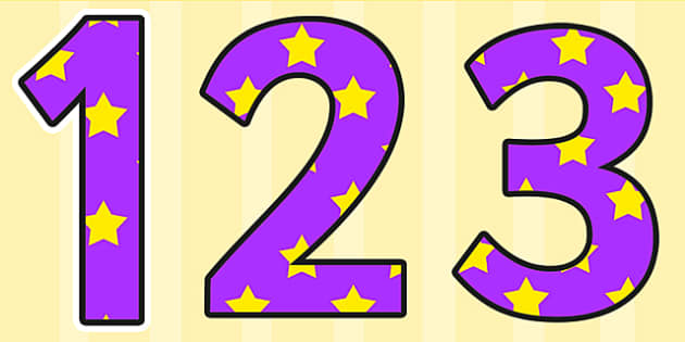 Purple and Yellow Stars Display Numbers - stars, display numbers, display lettering, numbers for display, cut out numbers, display letters, number, display