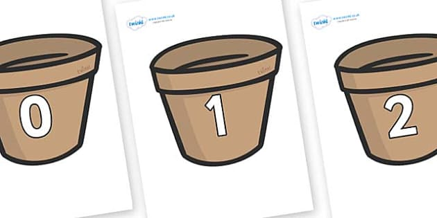 Numbers 0-100 on Flower Pots (Plain) - 0-100, foundation stage numeracy, Number recognition, Number flashcards, counting, number frieze, Display numbers, number posters