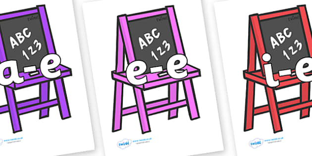 Modifying E Letters on Chalk Boards - Modifying E, letters, modify, Phase 5, Phase five, alternative spellings for phonemes, DfES letters and Sounds