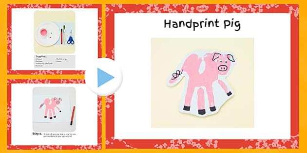 Handprint Pig Craft Instructions PowerPoint - craft, pig, hand print, print, instructions, powerpoint