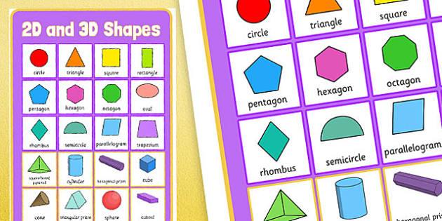2D and 3D Shapes Poster - 2d shapes, 3d shapes, poster, display