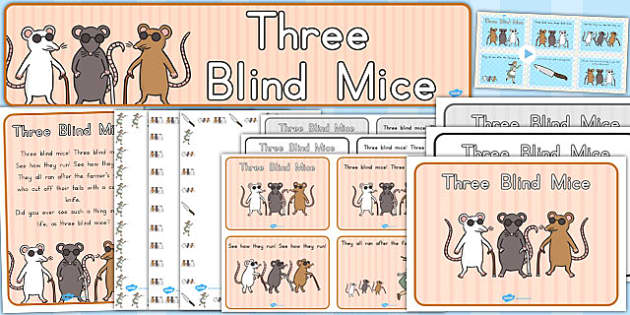 Three Blind Mice Resource Pack - nursery, rhymes, resources
