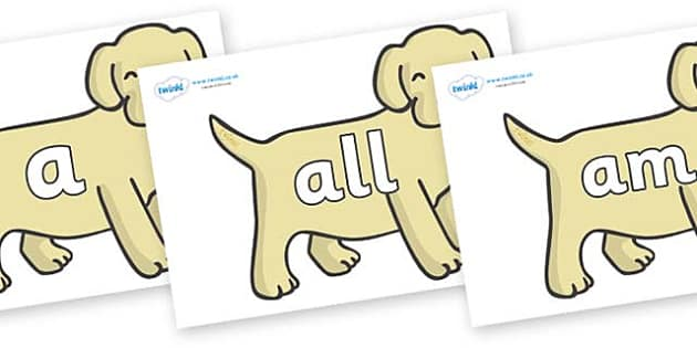 Foundation Stage 2 Keywords on Puppies - FS2, CLL, keywords, Communication language and literacy,  Display, Key words, high frequency words, foundation stage literacy, DfES Letters and Sounds, Letters and Sounds, spelling