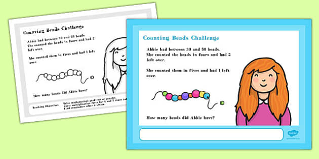 A4 Counting Beads Maths Challenge Poster - Posters, numeracy