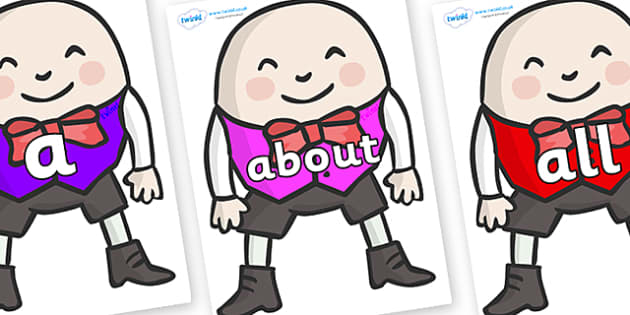 100 High Frequency Words on Humpty Dumpty - High frequency words, hfw, DfES Letters and Sounds, Letters and Sounds, display words