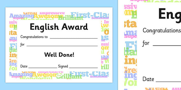 English Award Certificate - English Award Certificate, English, language, certificates, award, well done, reward, medal, rewards, school, general, certificate, achievement, England, skills, language skills