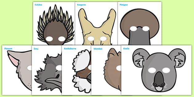 Australian Animals Role Play Masks - Australian animals, role play masks, masks, kangaroo, wallaby, kookaburra, wombat, crocodile, koala, possum