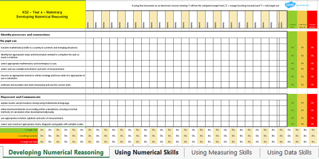 Year 6 Numeracy Assessment Tracker-Welsh - Numeracy, Maths, Assessment, Year 6, Wales, LNF, lnf.,Welsh