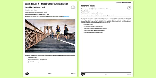 Social Issues 1 Photo Card Foundation Tier - spanish, social issues, health, healthy lifestyle, speaking, photo-card, foundation tier