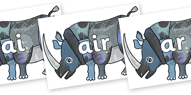 Phase 3 Phonemes on Rhinoceros to Support Teaching on The Bad Tempered Ladybird - Phonemes, phoneme, Phase 3, Phase three, Foundation, Literacy, Letters and Sounds, DfES, display