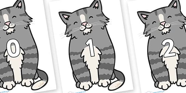 Numbers 0-100 on Kittens - 0-100, foundation stage numeracy, Number recognition, Number flashcards, counting, number frieze, Display numbers, number posters