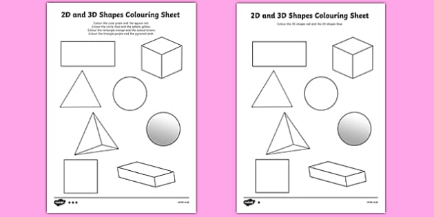 3D Shapes Primary Resources spaces measures shape Page 1 – 2d and 3d Shapes Worksheets for Kindergarten